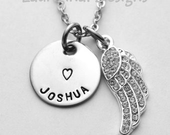 Angel wing memorial necklace - Any text that fits - stamped stainless steel - silver plated crystal angel wing - s. steel chain