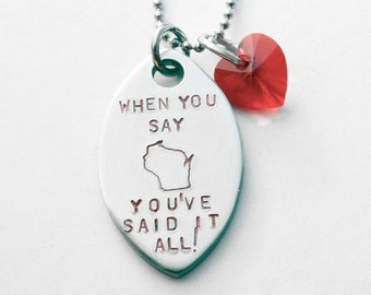 Wisconsin necklace - Badger football necklace - Any text that fits if you want to change it