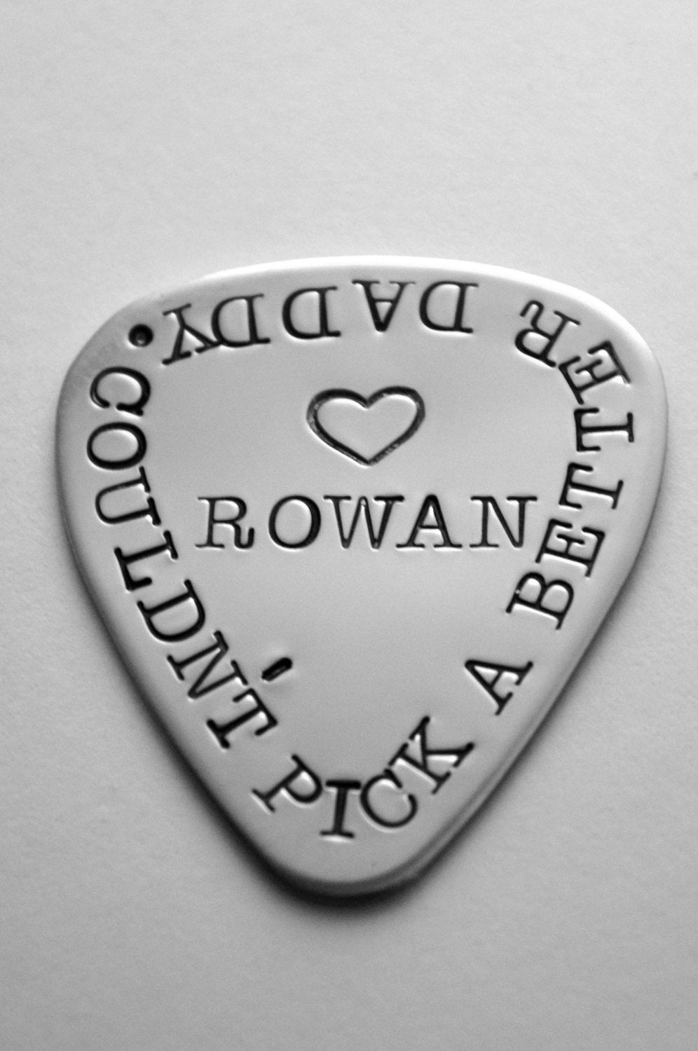 Personalized guitar pick - Father's Day - Groomsmen Gift - hand stamped s. steel - Choice of font - ANY WORDING - See ALL photos!