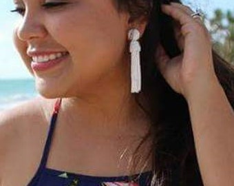 White Earrings, long earrings, beaded tassel Earrings. sterling SILVER studs. Handmade long tassel earrings, Oscar de la Renta style