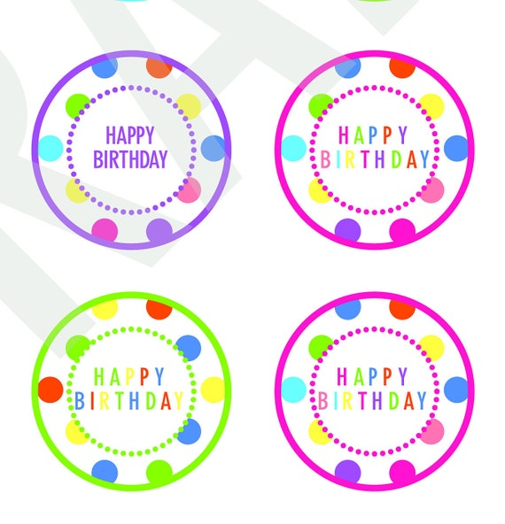 Happy Birthday Cupcake Toppers Digital Download File Clipart Etsy