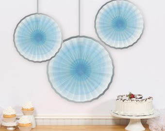 Hanging Paper Fans 3 Rosettes Hanging Pinwheels Party Decoration Birthday Decorations Backdrop Baby Shower Wedding Bridal Shower Background