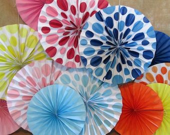 Hanging Fans Birthday Decorations 3 Paper Fans Pinwheels Party Decoration Photo Background Birthday Banner Baby Shower Decor Polka Dots