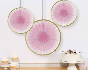 Hanging Paper Fans 3 Pinwheels Hanging Rosettes Party Decoration Birthday Decorations Backdrop Baby Shower Wedding Bridal Shower Background