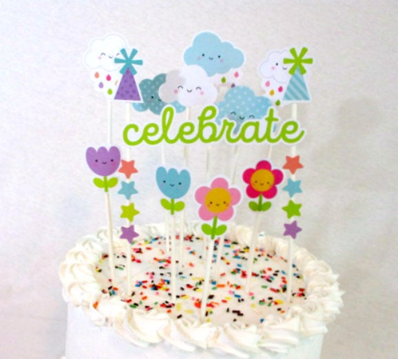 Kawaii Party Decorations Cute Flower Cake Topper Birthday