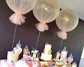 Confetti Balloons Tulle Birthday Balloons Kit Set of 3 Balloons Large Balloon Balloon Bouquet Confetti Kit XL Balloons Baby Shower Decor