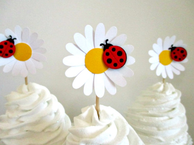 Flower Cupcake Toppers Daisy Birthday Favors Daisies Cake Topper Party Baby Shower Decorations Lady Bugs Ladybugs Easter