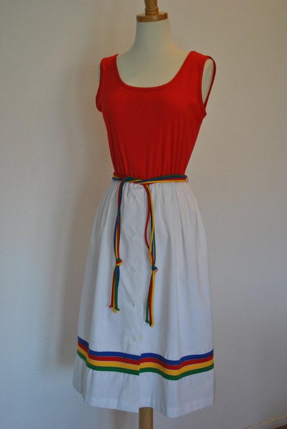 Retro SUMMER DRESS Red Hot 70's Vintage Small Medi