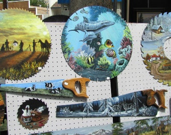 CUSTOM Hand painted  SAWS, painted saw blades,cross cuts, 2-man saws,lumberjack saws,old car saw,painted deer saw,