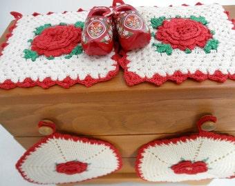 Retro Red Vintage Kitchen Lot of Crochet Pot Holders - Dutch Shoes - Pot Holder Hanger - Farmhouse - Cottage Chic
