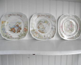 Beatrix Potter Plate Set Royal Albert 1986 England Cottage Shabby Chic White Home Decor Baby Shower Nursery Garden Room & Beatrix potter plate | Etsy