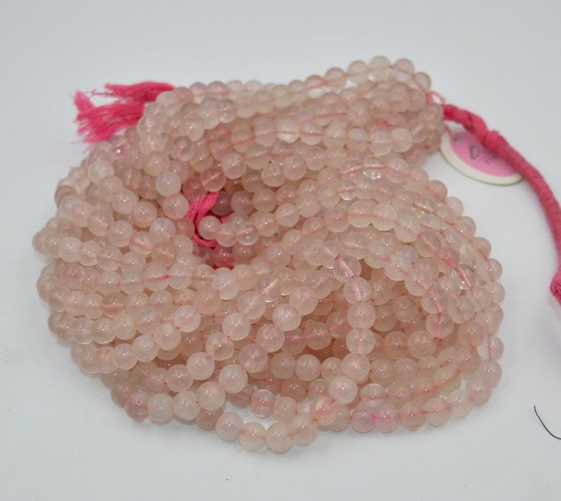 Good Quality  Natural Rose Quartz Smooth Beads Roundel  Shape Size 6mm Approx 13/'/'Inch Natural Quality Gemstone.
