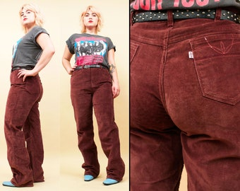 aff787b44b60 70s 80s Vtg Velvet Sienna LEVI STRAUSS Corduroy Wide Leg Pants   High  Waisted Hippie GLAM  Movin  On  Embroidered Detail Rock N Roll W36 L32