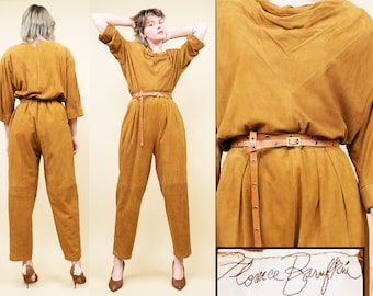 07a477f1e94e 70s 80s Vtg Honey Brown Suede Deerskin Leather Cowl Neck High Waist Pants  2pc Matching Pantsuit Set Couture Rock Star Glam Leisure Suit M-L