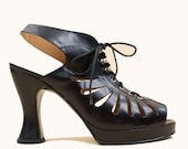 90s does 70s Deadstock Black Italian Leather Cut Out Cage Lace Up Corset Slingback Hourglass High Heel Peep Toe 8.5 EU 39