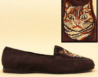 853541ebf571 80s rare Vtg Embroidered TABBY Cat Susan Bennis Warren Edwards Cocoa Brown  Suede Italian Leather Slip on Loafer Flats   10 9.5 Eu 42 41. nanometer