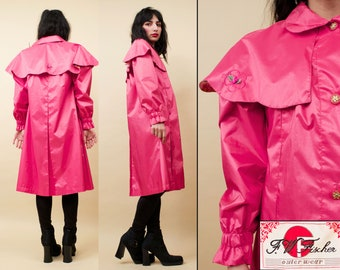 4595e465 80s Vtg Pearl Pink Taffeta Scallop Cape Collar Trench Coat by F.W.FISCHER  Spy Jacket Lolita Kawaii Baby Doll Tented Wind Breaker Xs Sm