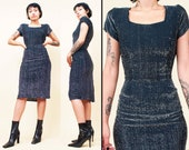 50s 70s Vtg Bombshell Dress Pin Up Black Silver Lurex Pencil Wiggle Sexy Vixen Bad Girl Disco Glam Punk Xs