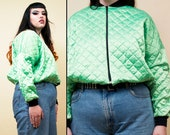 80s 90s Vtg Plus Size Quilted Slime Green Bomber Jacket Collarless Zip Up Coat Windbreaker Drawstring Cyber Rave Punk Dayglo Neon 1X 2X 3X