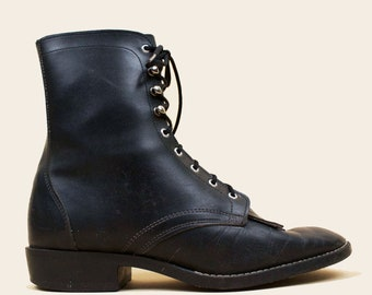 1597f2a3a82 70s 80s Vtg Black Soft Leather Lace Up Roper Fringe Toe Ankle Boots    Western Riding Granny Low Heel Pointed Toe 6 EU 36