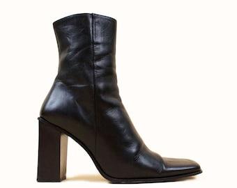 a975e3fc4cc 90s Vtg Black Italian Leather Super Chunky Square Platform Heel Zip Up  Chelsea Ankle Boot Designer Nathalie M. Mod Sleek 6 EU 36