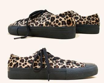 2289e2b39829 90s Vtg Faux Fur Leopard Print Lace Up Low Top Sneaker by FURREAKS   like Converse  All Star   Deadstock HTF Punk Goth Grunge 6 EU 36