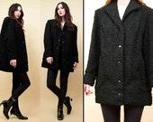On SALE 70s 80s Vtg Jet Black Genuine Persian Fur Curly Lamb Jacket Car Coat MINIMALIST Mod Chic Snap Button Front Mint Cond. Sm Med