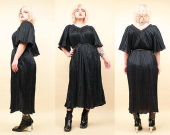 6963b65b41d6 80s Vtg Black Micro Pleat Bell Sleeve Midi Sheath Dress Caftan   Witchy  Kaftan Goth Boho Crochet Neckline OSFM Plus Size L - XXL. nanometer