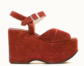 3318175517d6 70s Vtg TAXI DRIVER Iconic Red Corduroy Mega Platform Ankle Strap Sandal  Hippie Rocker Glam Sky High Heel Clog Wedge Peep Toe 6 6.5 EU 36 37