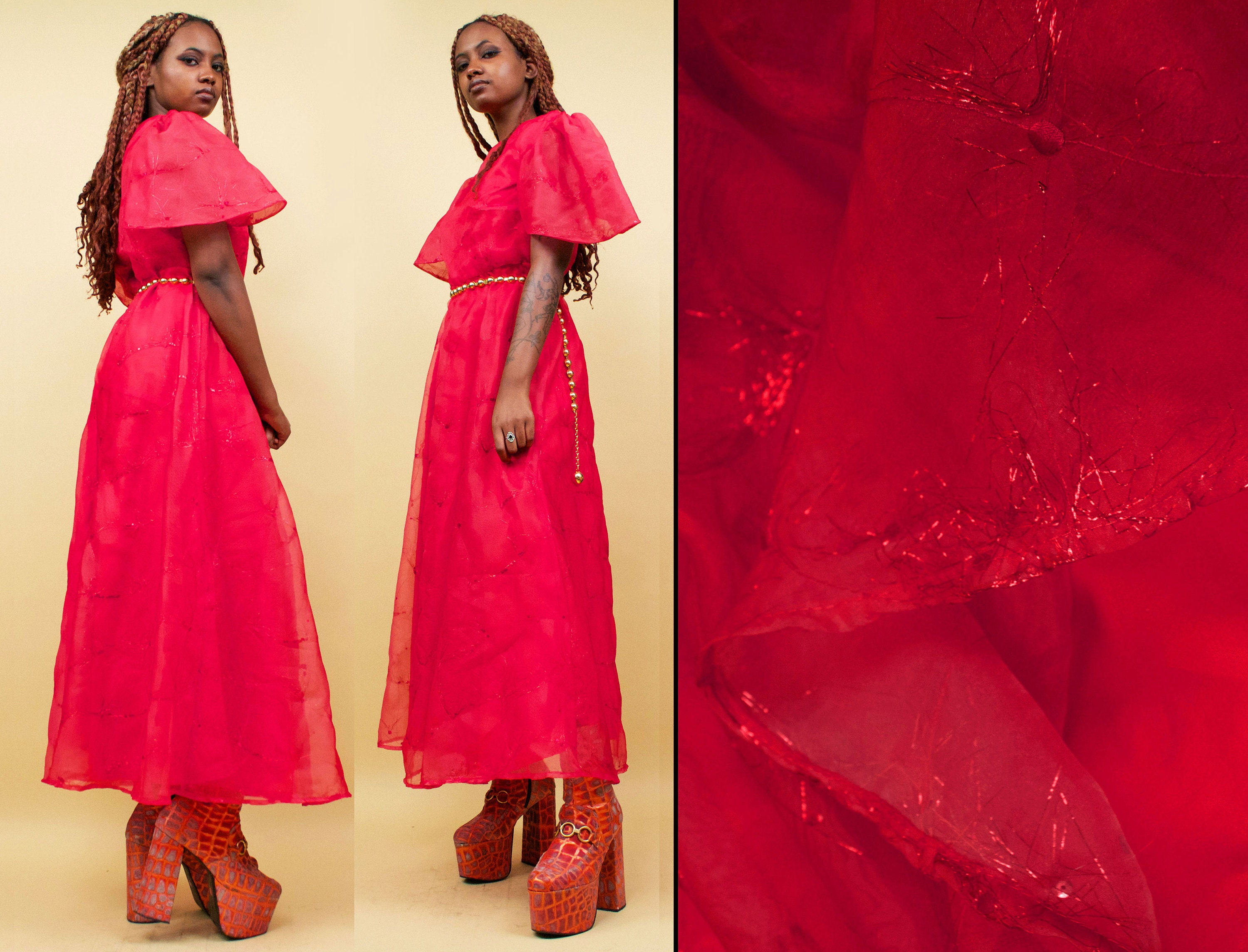80s Dresses | Casual to Party Dresses 80S Vtg Ethereal Cherry Red Organza  Lurex Gown With Giant Princess Puffy Sleeve Fairy Formal Prom Dress Tinsel Sequin Womens Medium $97.30 AT vintagedancer.com