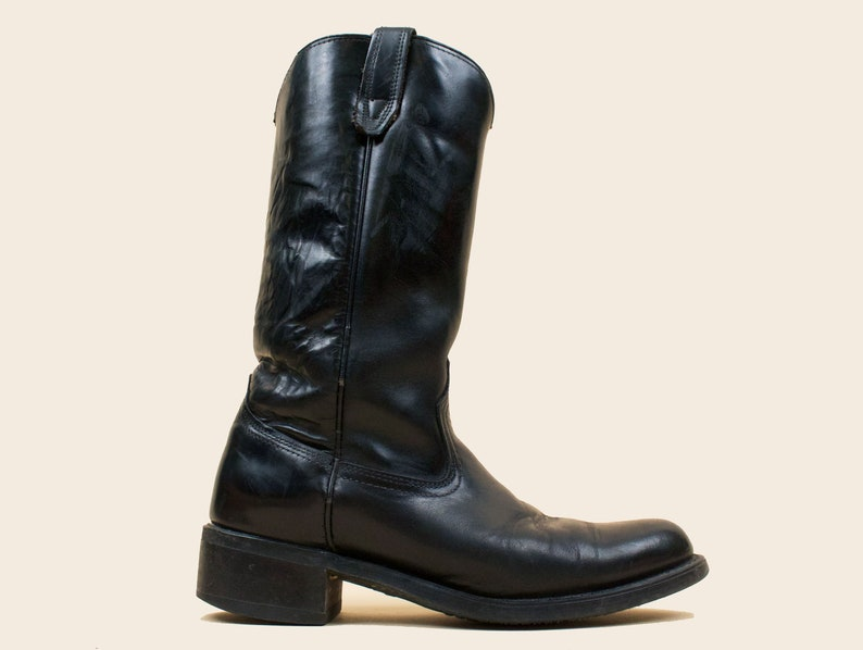 ac0fa65709e38 70s 80s Vtg Black Genuine Leather Pull On Cowboy Boots Engineer Motorcycle  Biker Riding by ACME USA Mens 7.5 Womens 9 EU 40