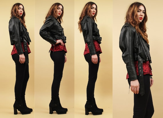 Iconic Biker 80s Punk 90s Coat Jacket Sm Vtg Genuine Moto Crop Motorcycle Grunge Black LEATHER w8EFT1n8q