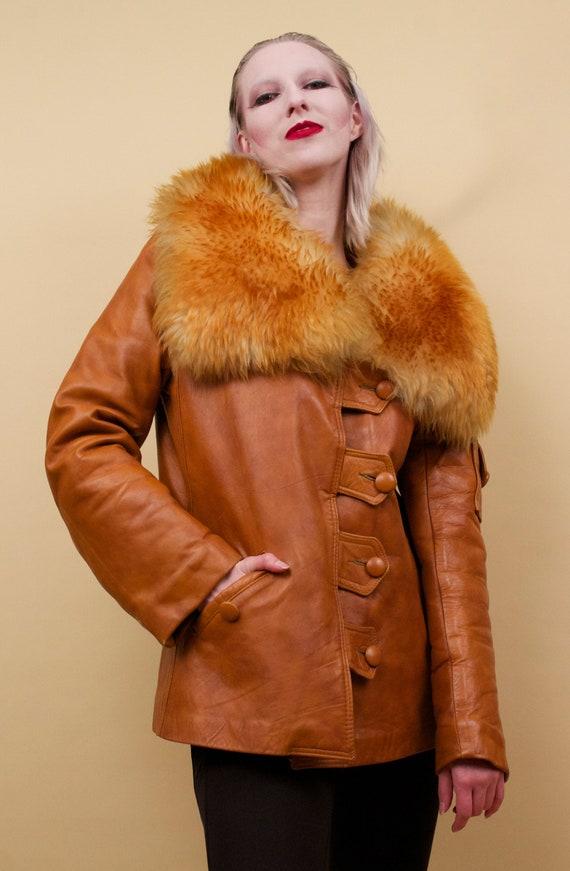 60s 70s Vtg Custom Leather Sienna Orange Shearlin… - image 4