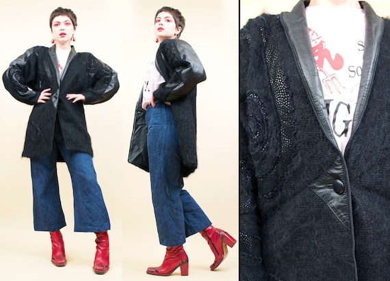 80s Vtg Black Mohair Shaggy Wool & Leather Appliqu