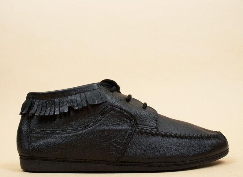 b86ff58dcc9 80s Vtg Black Genuine Leather Fringe Moccasin Lace Up Ankle