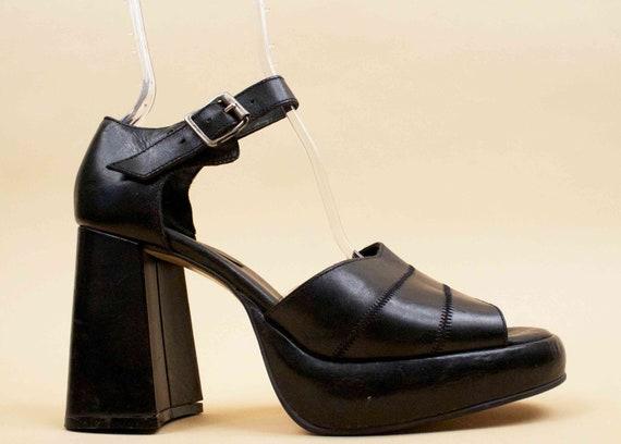 Eu 90s Super Goth Ankle Vtg 42 Block WILD GLAM Sandals Chunky Platform Strap PAIR Black 10 Genuine Heel Leather TTgqr1w