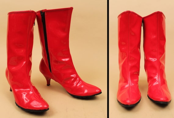 Leather Fleece Patent Heel Cherry Pin Boot Shiny Up Vampirella Up 60s MOD Rain Kitten Vtg Pointed Red Zip Space Eu Age Lined 6 36 VINYL CIwtt5Rqx