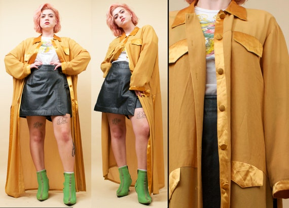 075005873a3 80s 90s Vtg Saffron Yellow Satin Crepe Duster Jacket   Split