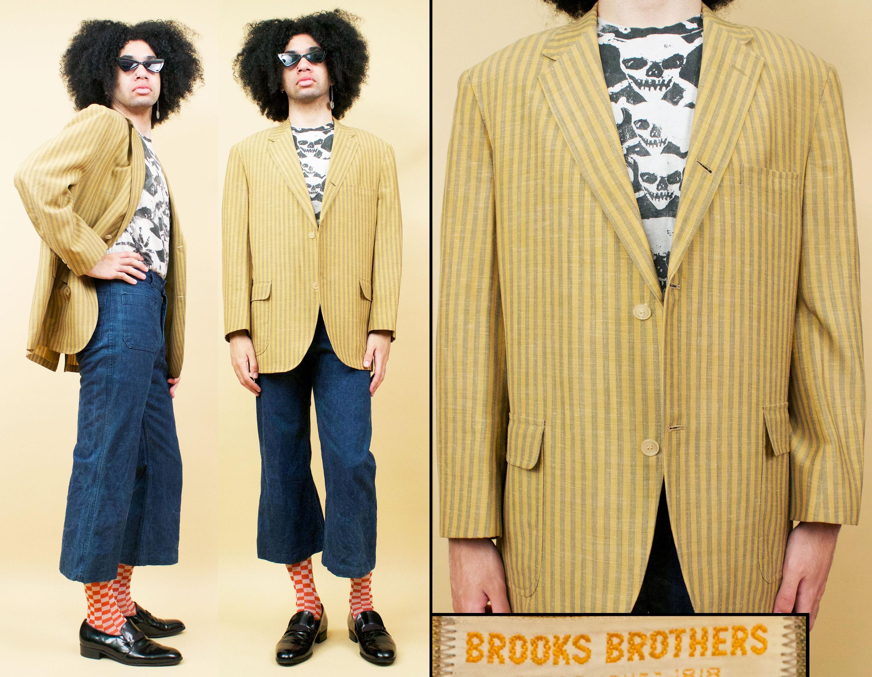 1950s Mens Hats | 50s Vintage Men's Hats 50S 60S Vtg Vertical Stripe Brooks Brothers Blazer Jacket Linen Yellow  Tan Menwear Mens L 44R $206.25 AT vintagedancer.com