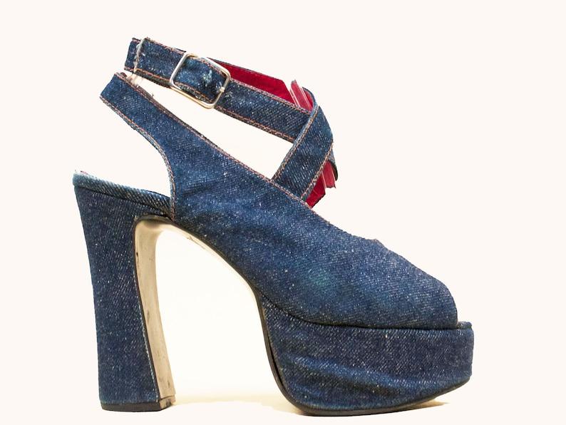 c7f87296c811 90s does 70s Vtg Blue Jean Denim   Leather Ankle Strap