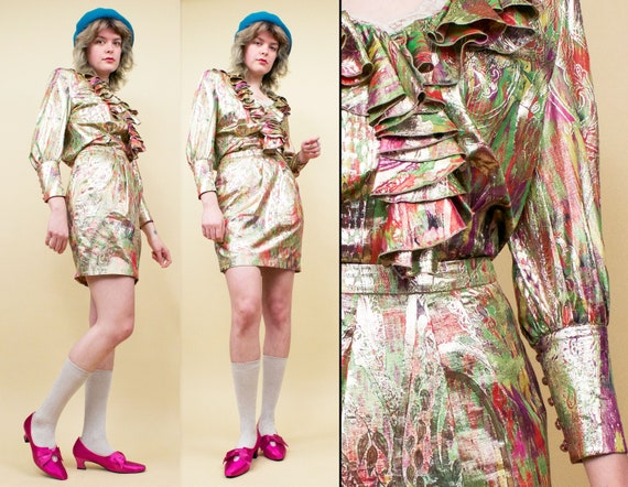 80s does 60s Vtg ESCADA Couture Silk & Lurex Paisl
