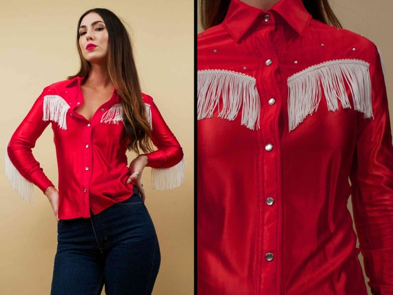 70s Vtg Red & White Fringe Wet Look Nylon Satin Snap Button Up Western Blouse / Collared Rock N Roll Rhinestone Stud Glam Shirt Top Xs by Etsy