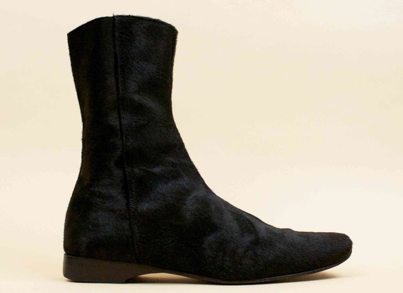Futuristic Modern Boots 8 Vtg All early Calf Luxury Ankle Leather Zip 39 90s 5 Morrison Up Eu Black Sigerson MINIMALIST Jet Hair 76wISwq