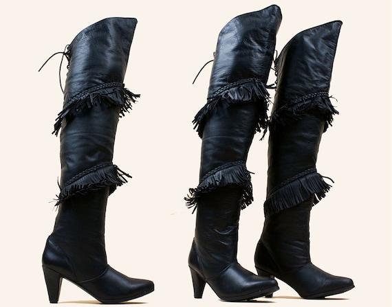 80s Vtg Black Genuine Leather Thigh High OTK Boot