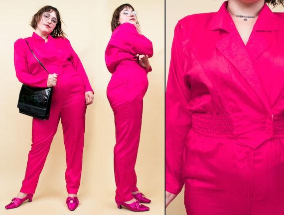 80s Vtg Nylon Fuschia Pink Pant Suit Jumpsuit Powe