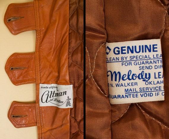 60s 70s Vtg Custom Leather Sienna Orange Shearlin… - image 9