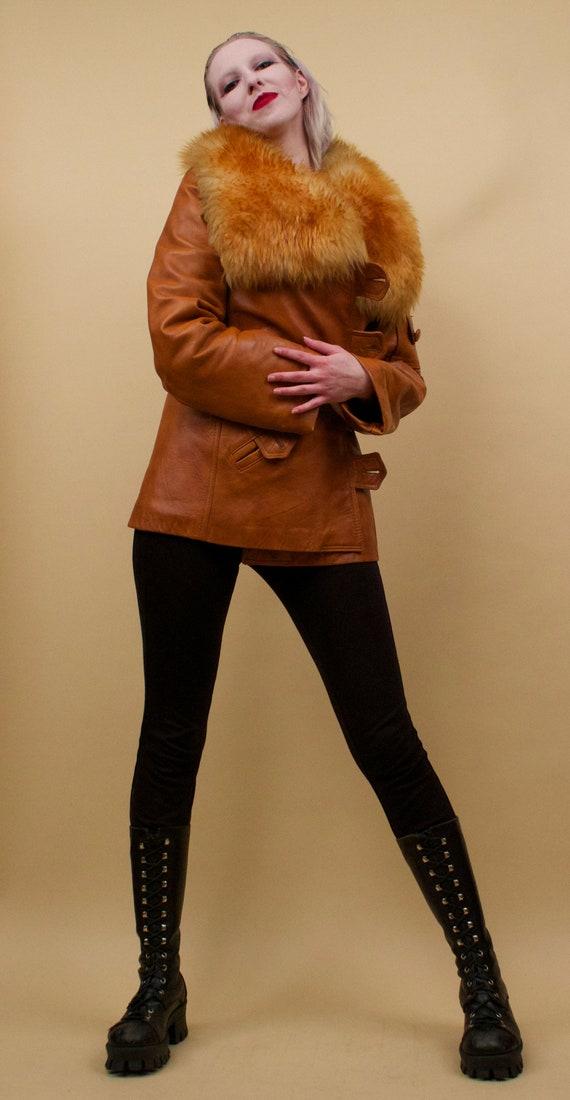 60s 70s Vtg Custom Leather Sienna Orange Shearlin… - image 5