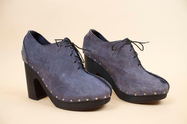 70s Vtg rare SBICCA Genuine Leather /'Blue Jean/' Look Wood Platform Ankle Boot Clog  Chunky Rivet Stud Lace Up GLAM Rocker 6.5 7 Eu 37 37.5