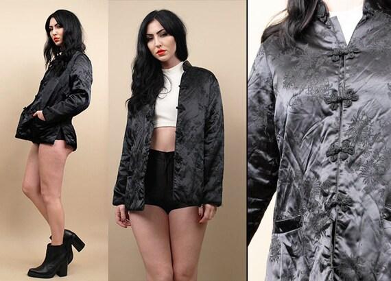60s 70s Vtg Black Si Lk Asian Brocade Jacket / Floral Peo Ni Es Mandarin Collar Frog Closure Coat Goth Minimal Mod / Small by Etsy