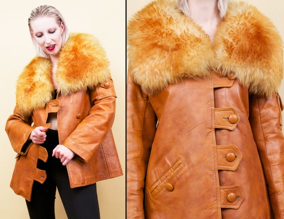 60s 70s Vtg Custom Leather Sienna Orange Shearlin… - image 1